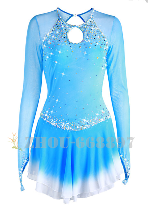 ice figure skating competition dress Gymnastics costum blue dance Dress