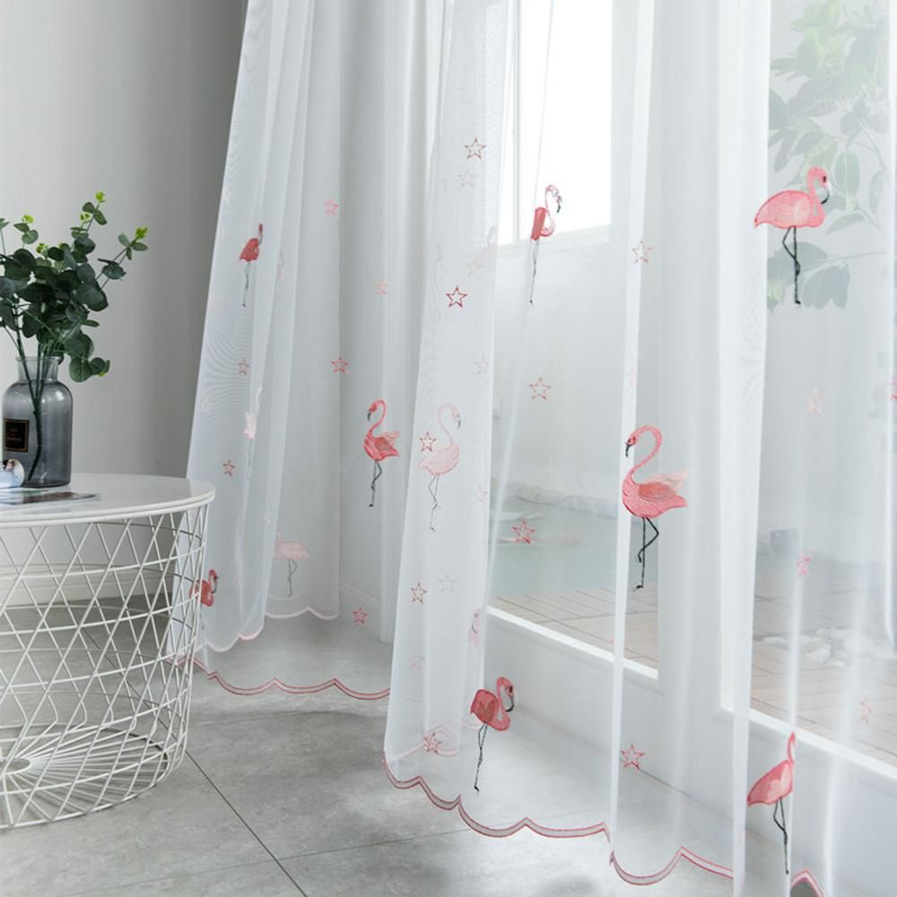 Dihin Home Cartoon Pink Little Flamingo Window Screening Sheer Curtain Blackout Grommet Window Curtain For Living Room 52x63 Inch 1 Panel White Sheer Curtains Curtains Living Room Curtains #pink #living #room #curtains