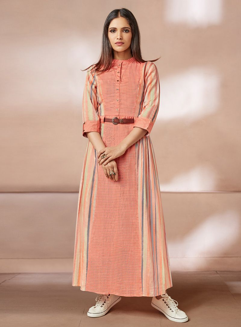 167d8cc5c66 Shop Peach Rayon Long Readymade Kurti 144099 online at best price from vast  collection of designer kurti at Indianclothstore.com.
