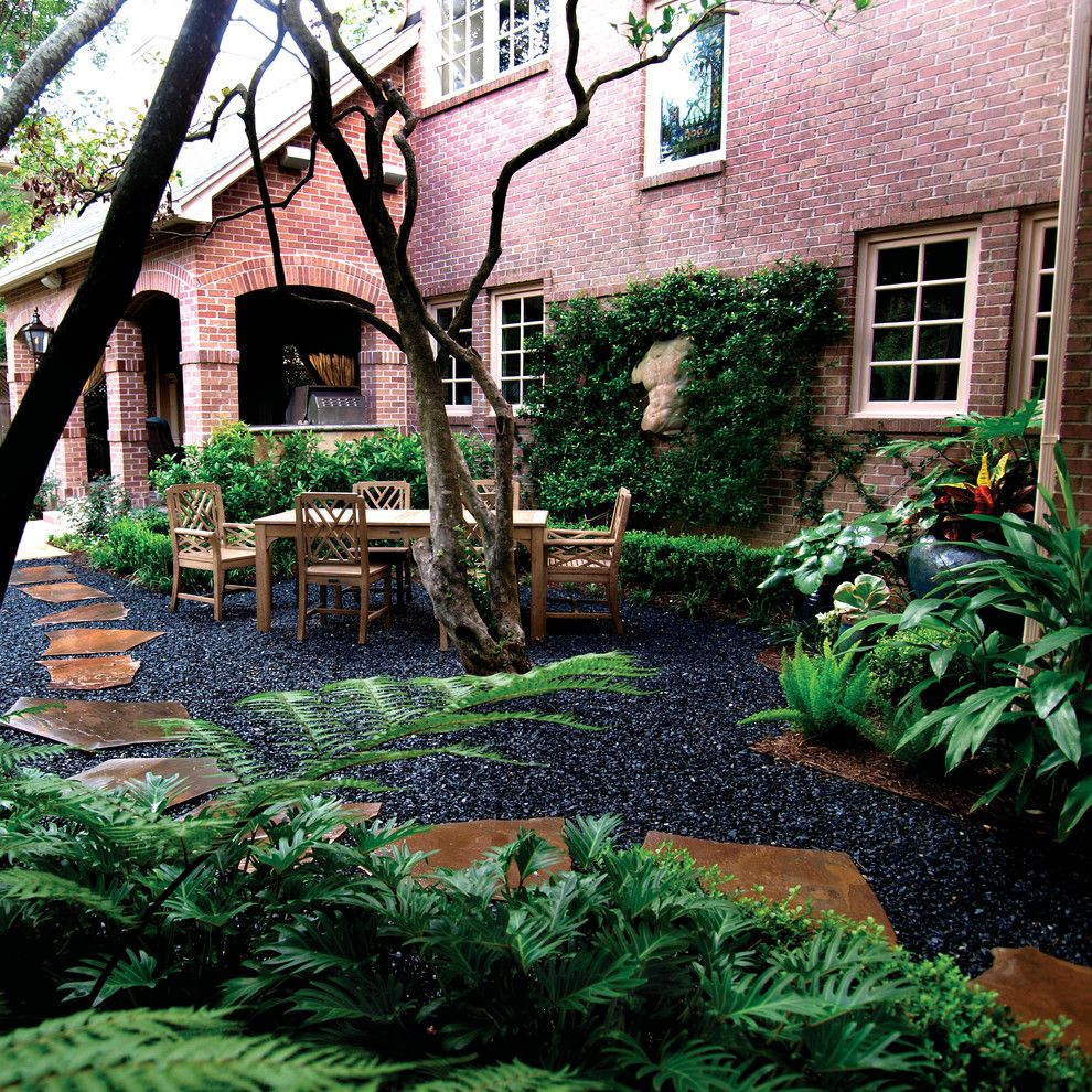 Brick Around Shed With Mulch And Flowers: Black Pea Gravel Landscape Traditional With Blackstar