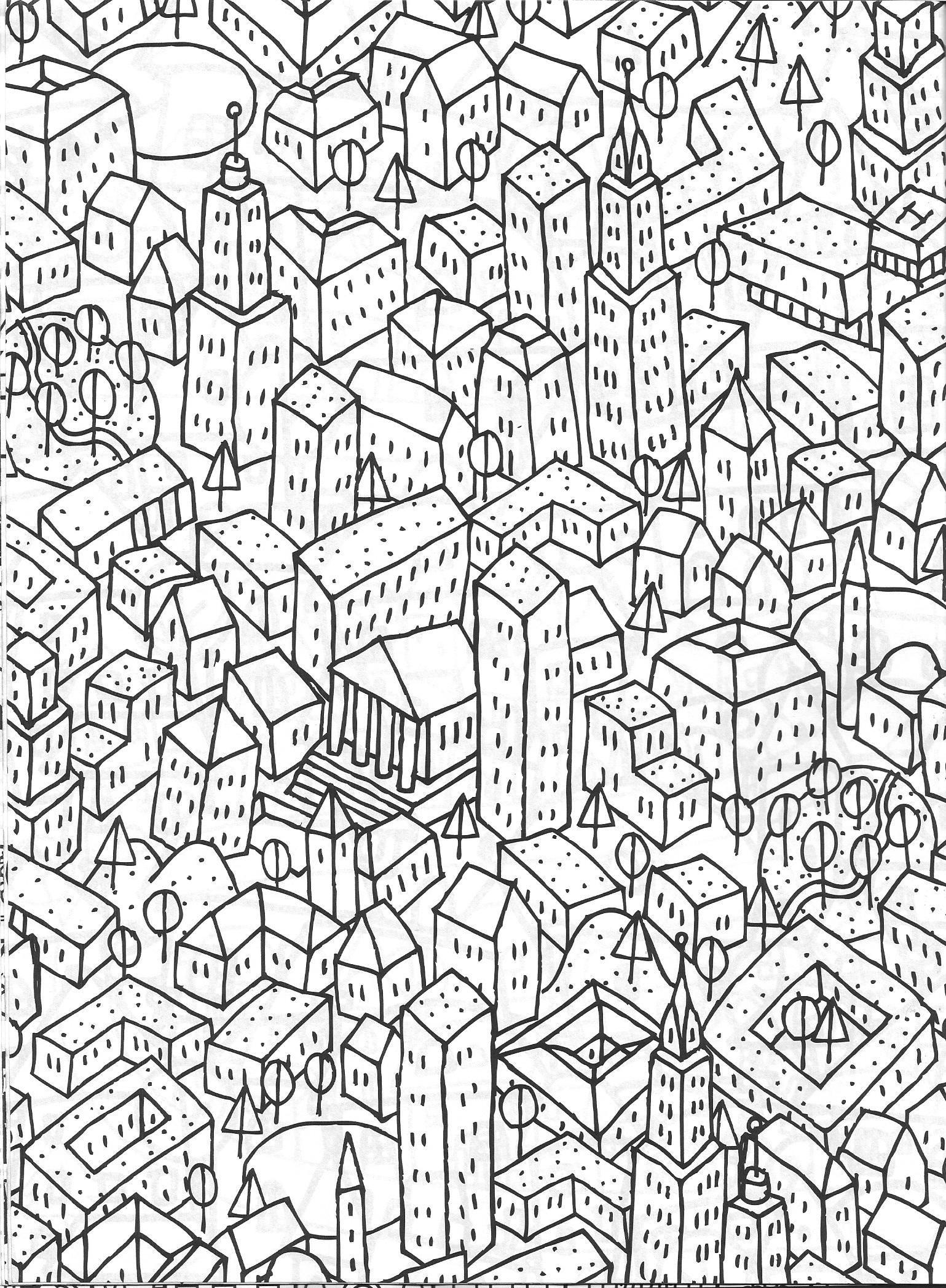 Cityscape Coloring Page Vida Simples Cidade Dos Sonhos Adult