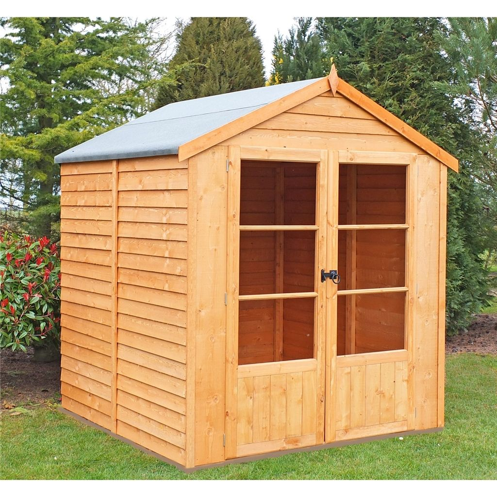 6 X 6 1 76m X 1 83m Value Overlap Summerhouse Double Doors 11mm Osb Floor Roof Summer House Corner Summer House Shed