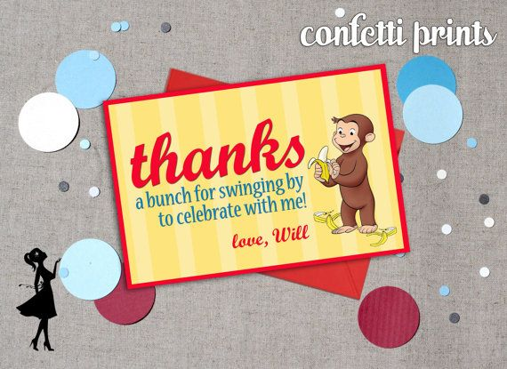 Thank You Card  CURIOUS GEORGE Printable by ConfettiPrintsShop, $7.00