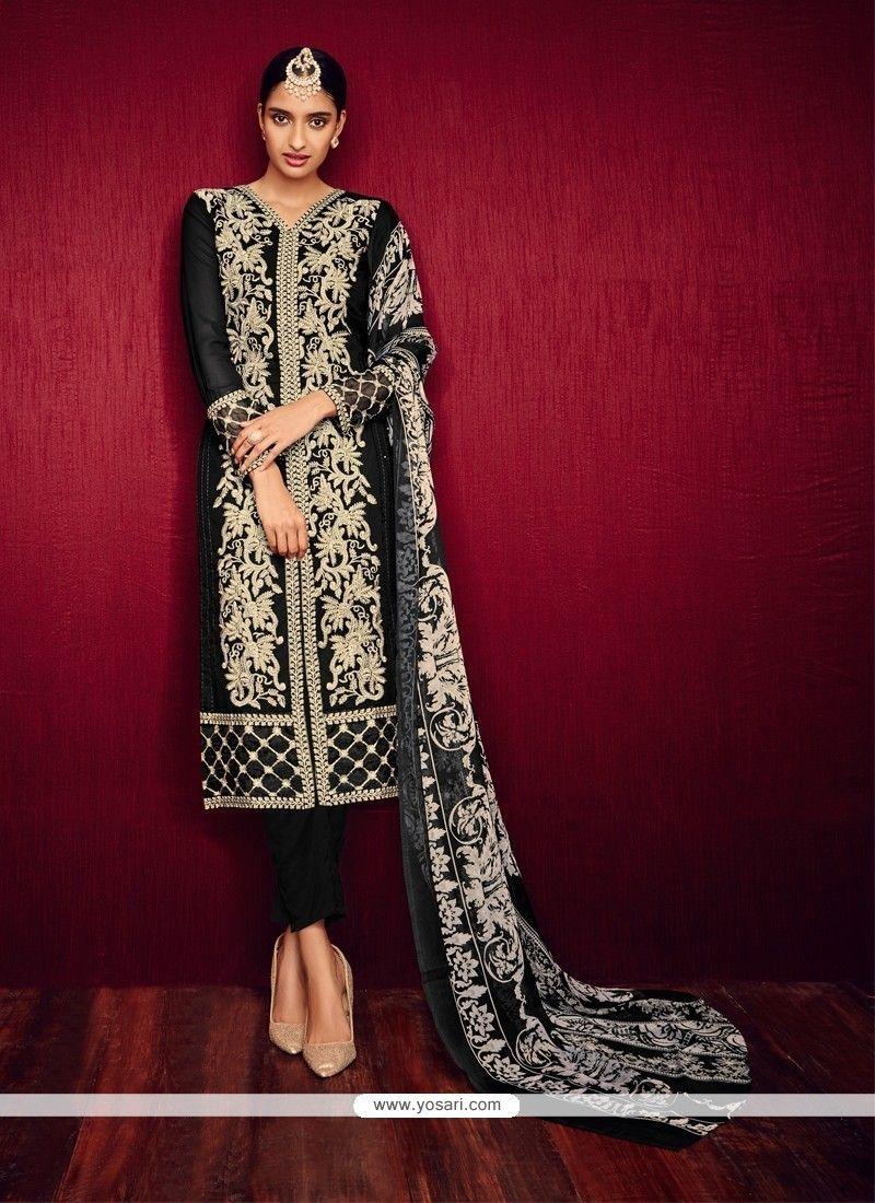 Praiseworthy Georgette Black Pant Style Suit Model: YOS7641