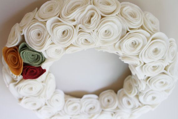 Cream Felt Rosette Wreath