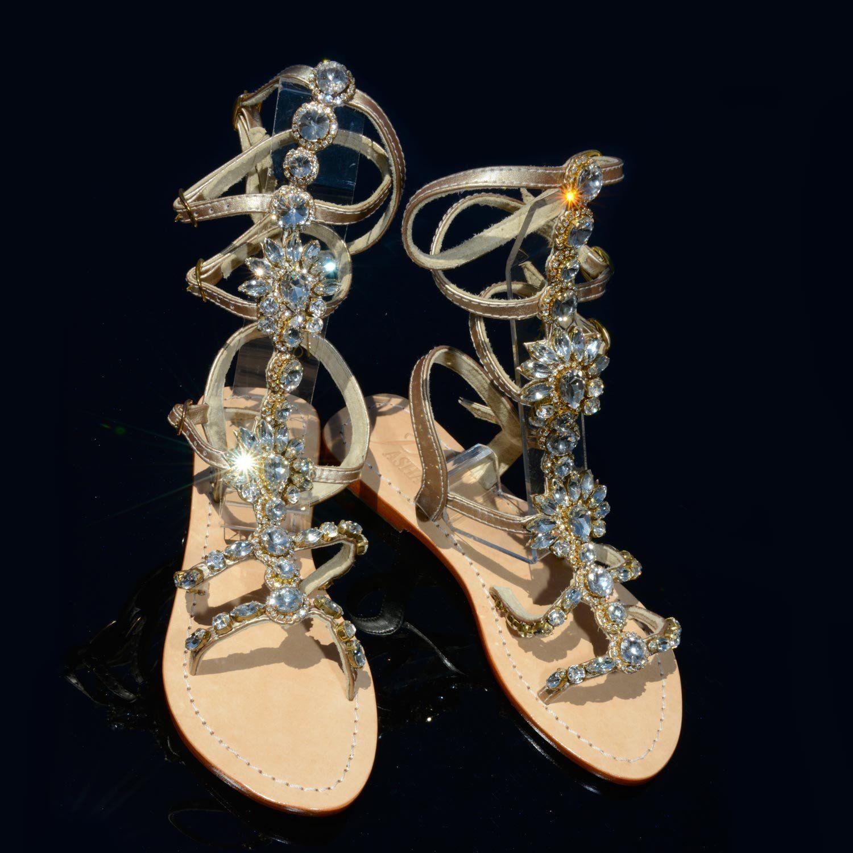 Style Hisingen Clear//Gold Gladiator PASHA Gorgeous Jeweled Genuine Leather Shoes