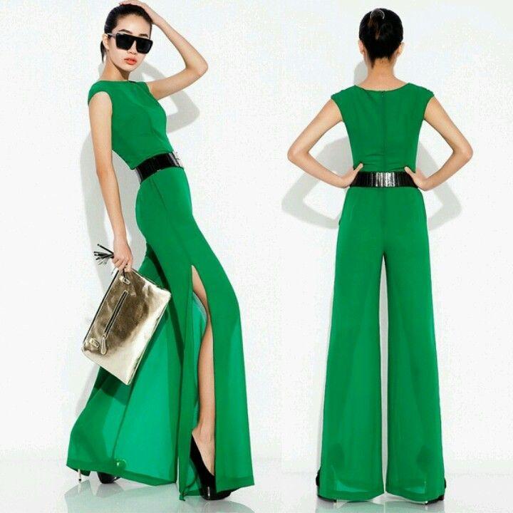 Emerald Green Jumpsuit In 2019 Fashion Jumpsuit Denim