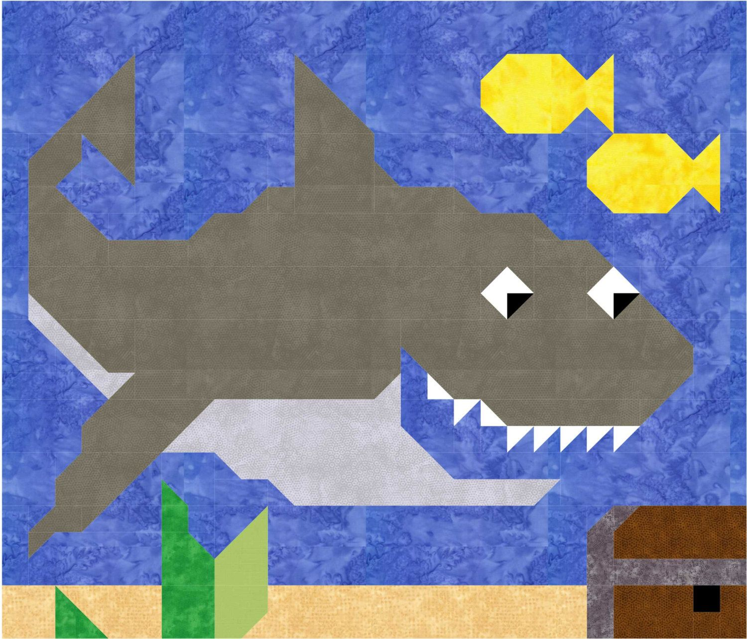 Shark quilt pattern with instructions for 3 sizes by CountedQuilts ... : shark quilt - Adamdwight.com