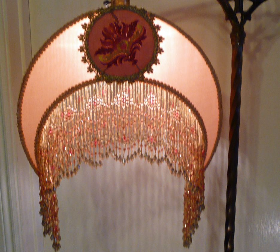 Vintage 1920 S Bridge Lamp With Half Moon Lamp Shade Made By Mary Maxwell Pastel Silk Floral Embroidery Compl Victorian Lighting Victorian Lamps Lamp Shade