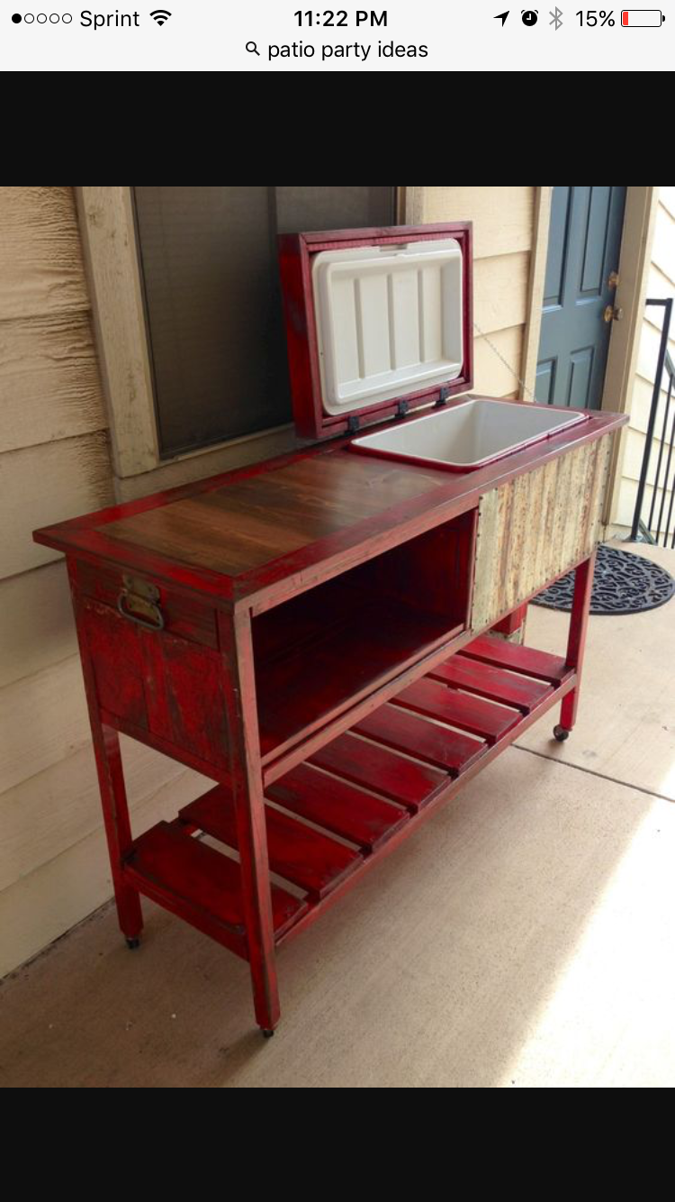 Vintage Red Rolling Cooler And Bar Counter Top Wood