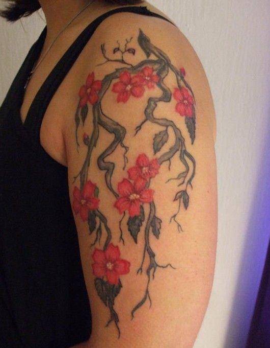 Tatouage fleur de cerisier sur le bras Plus