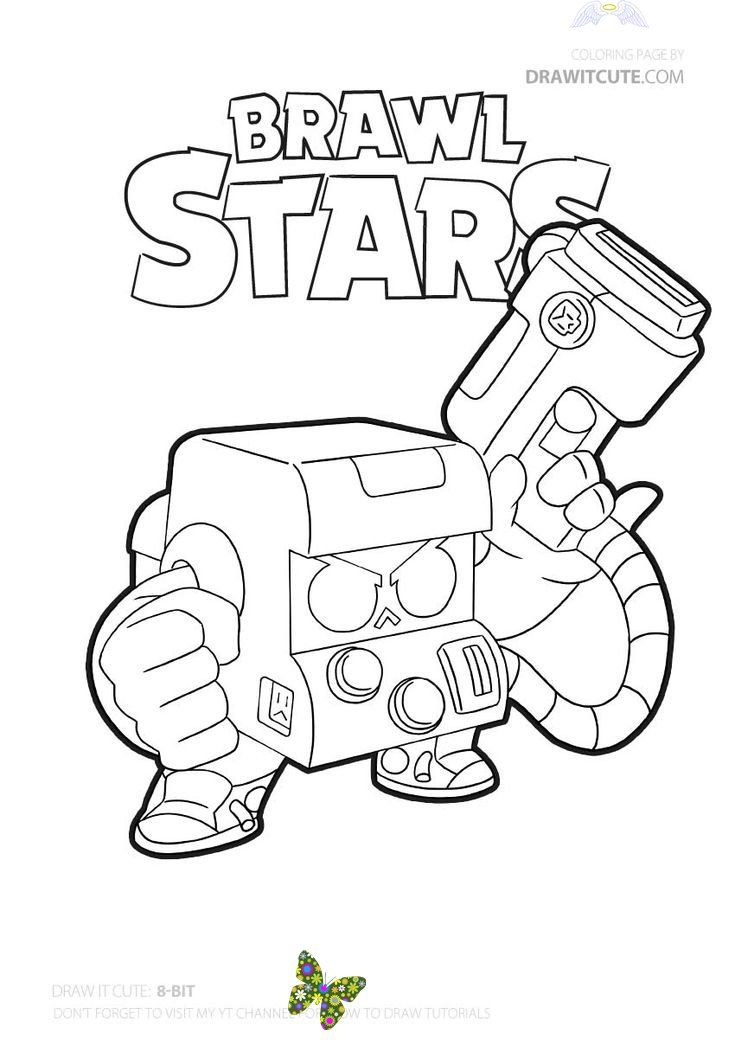 8-Bit   Brawl Stars coloring page - Color for fun Shark ...