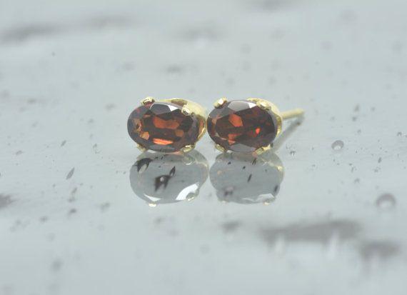 Gold Red Garnet Earrings/Gold Filled/Rhodolite Garnet/Bridesmaid Gift/Post Earrings/Oval Studs/January Birthstone/Gift for Her/6x4 mm/E10