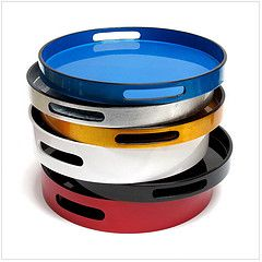 Lacquer Drinks trays - bold and bright.    From www.nomliving.com
