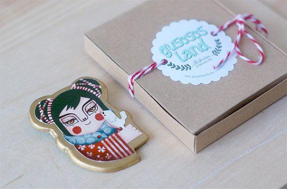 Handmade brooch japanese geisha by gusosos on Etsy