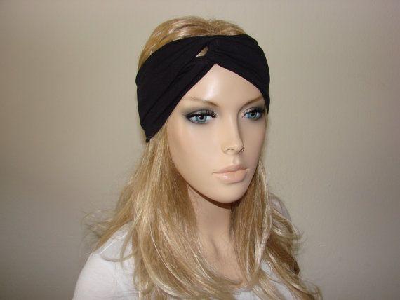 b0b4bc16379 Black Turban Headband jersey Wide Workout by OtiliaBoutique