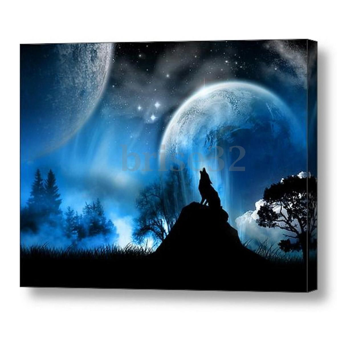Wolf Moon Modern Canvas Oil Painting Print Picture Home