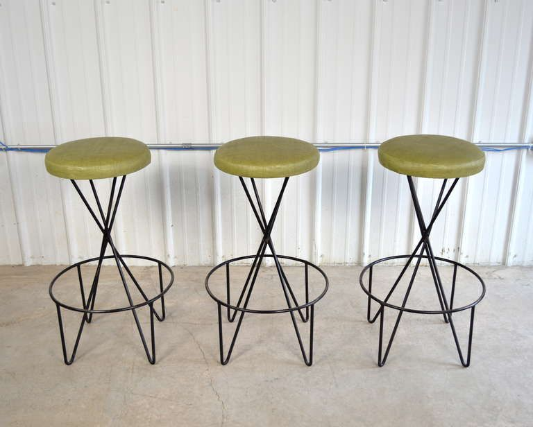Paul Tuttle Set Of 3 Mid Century Modern Bar Stools Mid Century