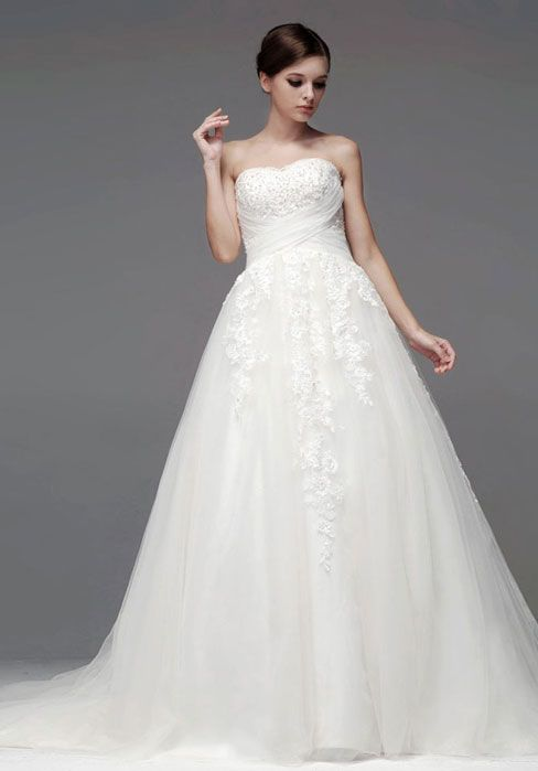 button appliques strapless a-line crystals wedding dress - Frankc.com
