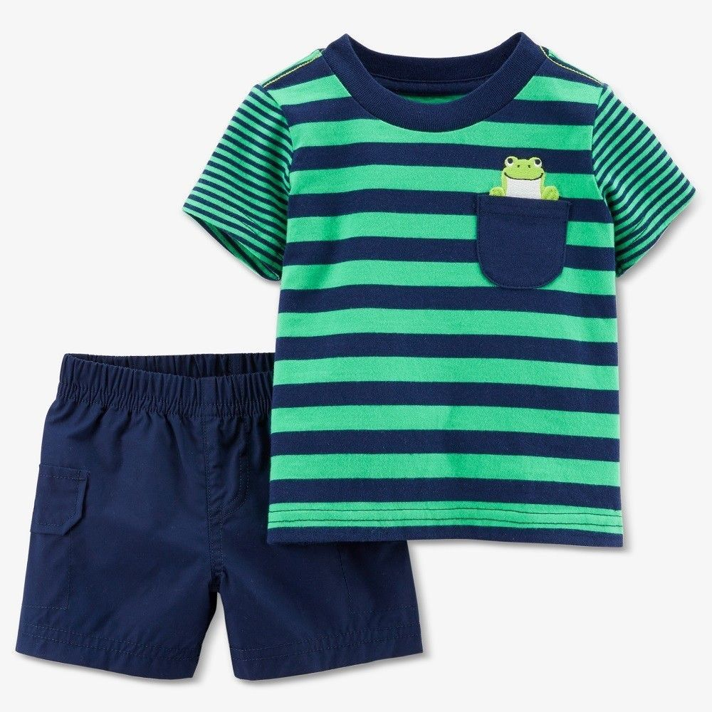 ebdb4b34f Toddler Boys' Frog 2pc Shorts Set - Just One You Made by Carter's Green  Stripe 5T