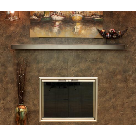 Steel Mantel Shelf With Glass Door - Shown here with a matching ...