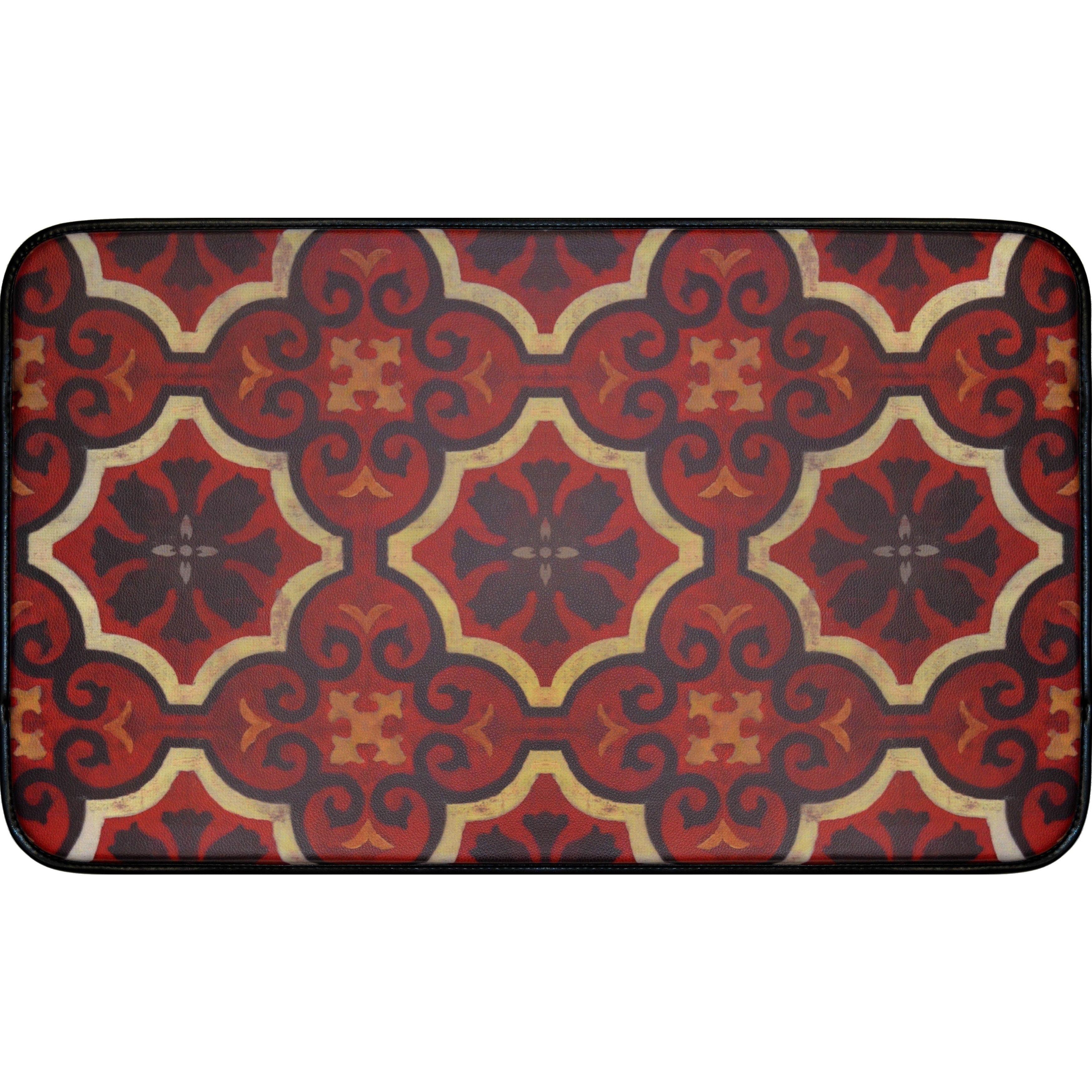Designer Chef Color/Red /Rubber Anti Fatigue Kitchen Mat