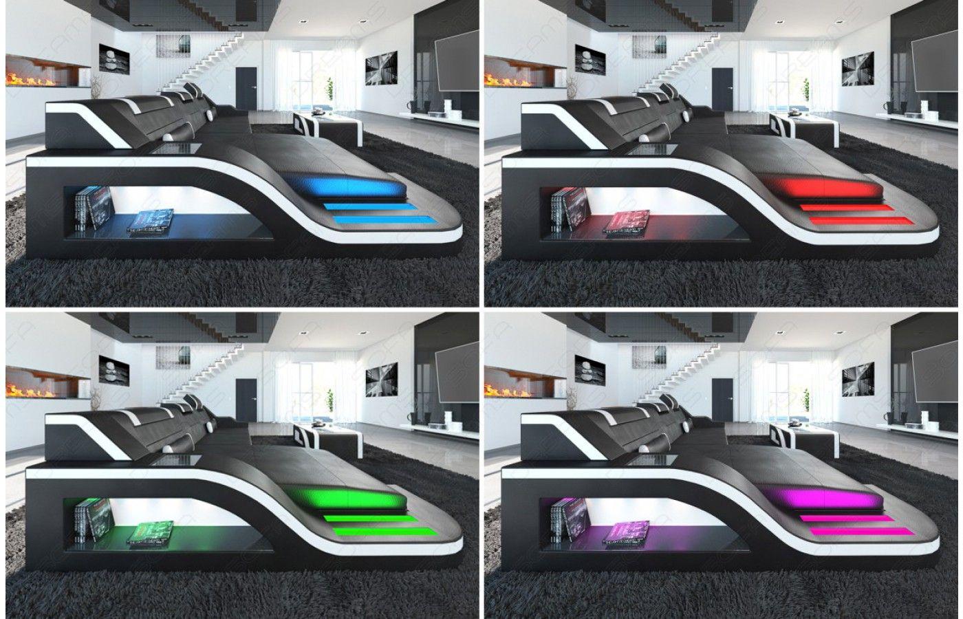 Exklusiv Sofa design wohnlandschaft palermo u form mit led exklusiv bei sofa
