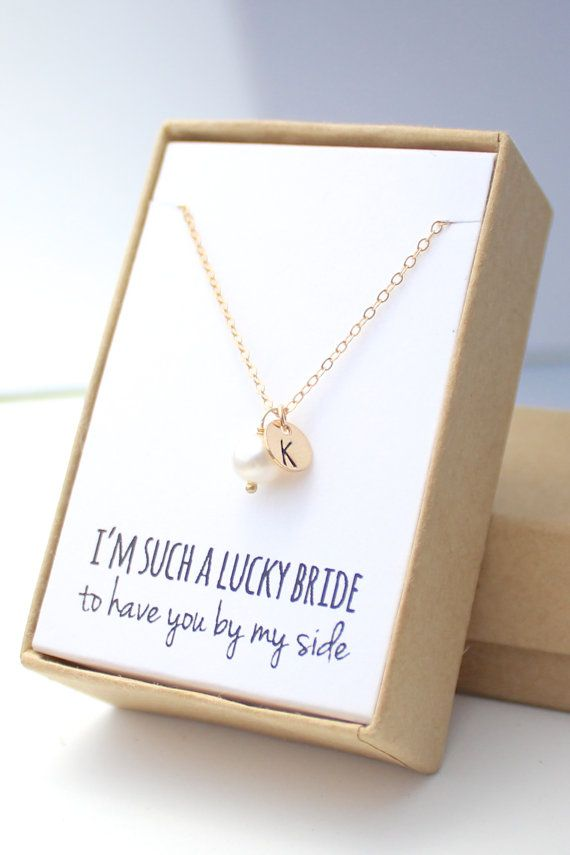 Pearl Gold Charm Necklace Pearl Bridesmaid by ForTheMaids on Etsy