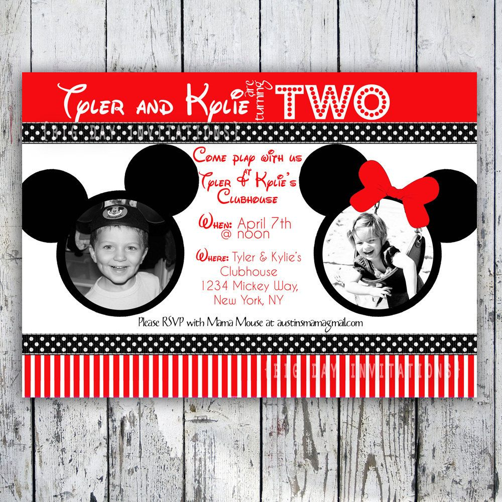 Minnie and Mickey Mouse Twin Birthday Invitation Printable Red – Mickey and Minnie Party Invitations