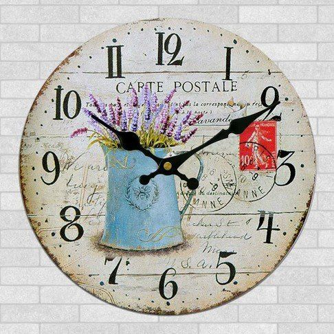 Wonderful Schmuckbox Vintage France Paris Colorful French Country Tuscan Style  Non Ticking Silent Wood Wall Clock ?  _î__    Discover This Special  Product, ...
