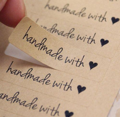 Kraft Paper Stickers...handwritten Font...little Heart