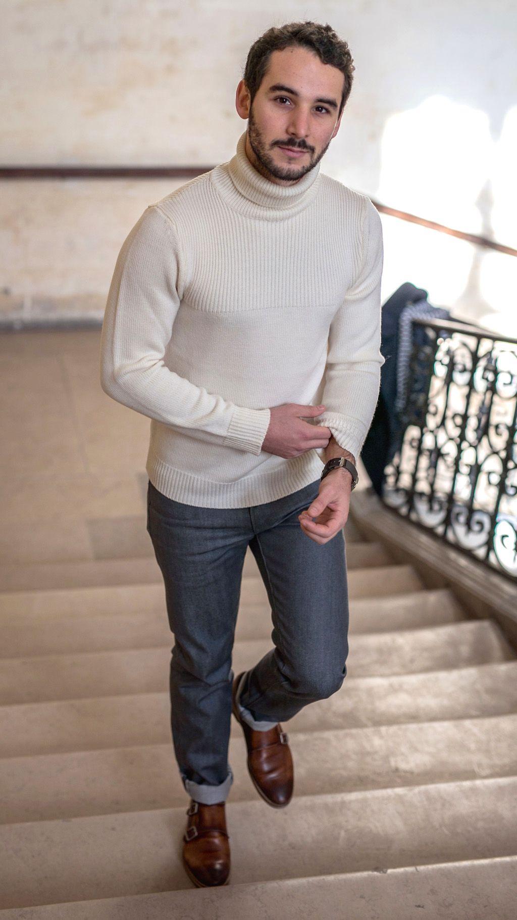 thomas porte un pull col roul agn s b les influenceurs. Black Bedroom Furniture Sets. Home Design Ideas