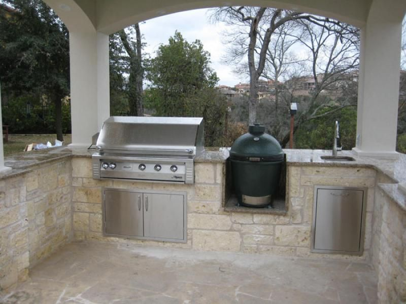 Outdoor Grill Area With Green Egg And Gas Grill Google