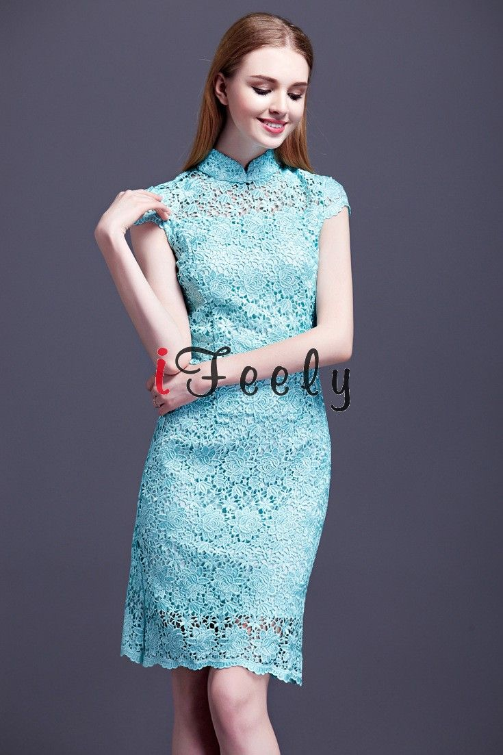 Elegant Turquoise Sheath Short Lace Wedding Guest Formal Dress ...