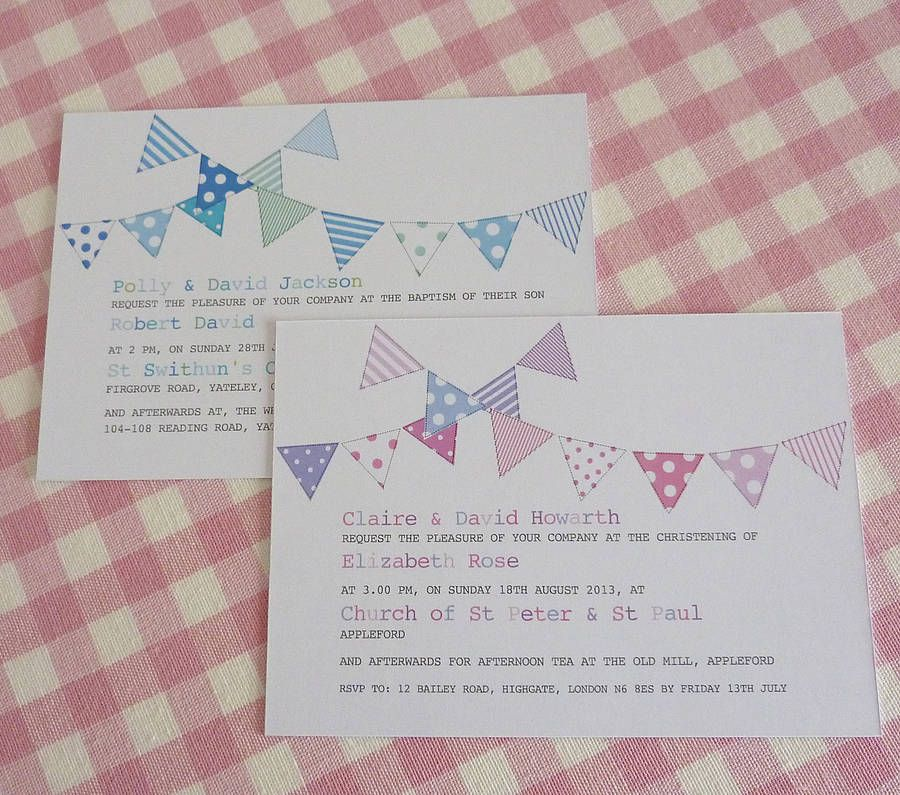 Bunting Personalised Christening Invitations Christening, Buntings - fresh birthday invitation from a kid
