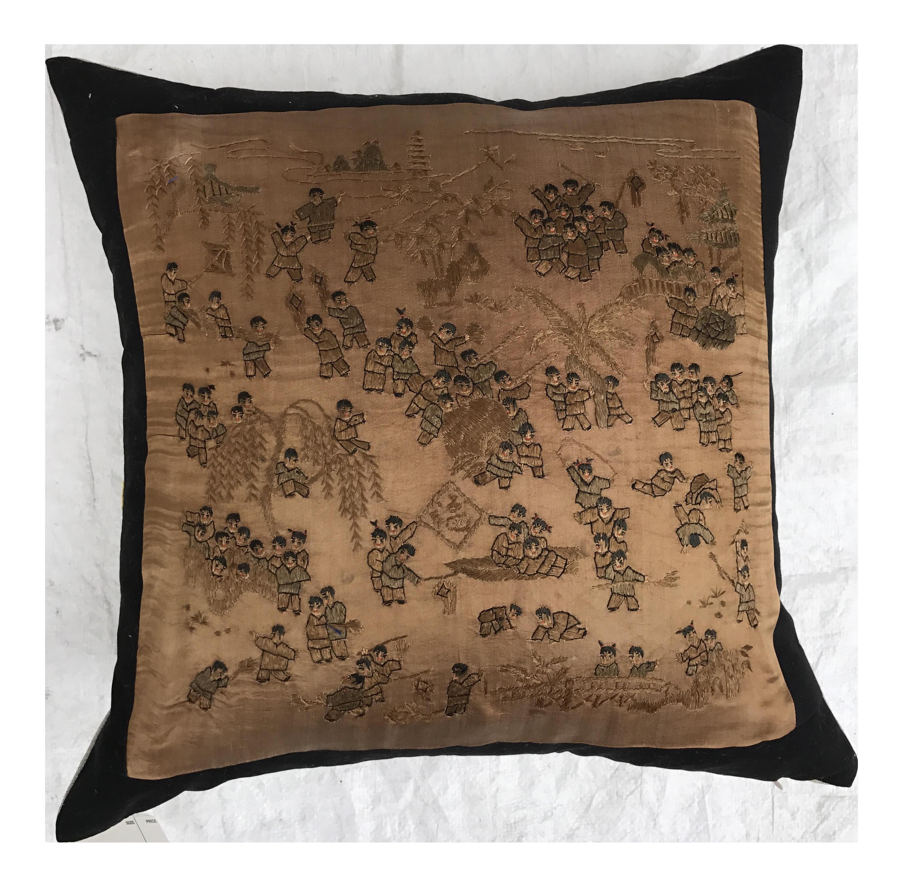 Chinese Silk Hand Embroidered 100 Children Pillow on Chairish.com