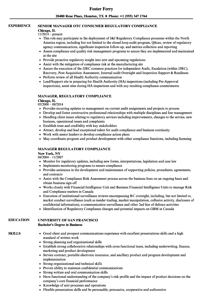 manager  regulatory compliance resume samples