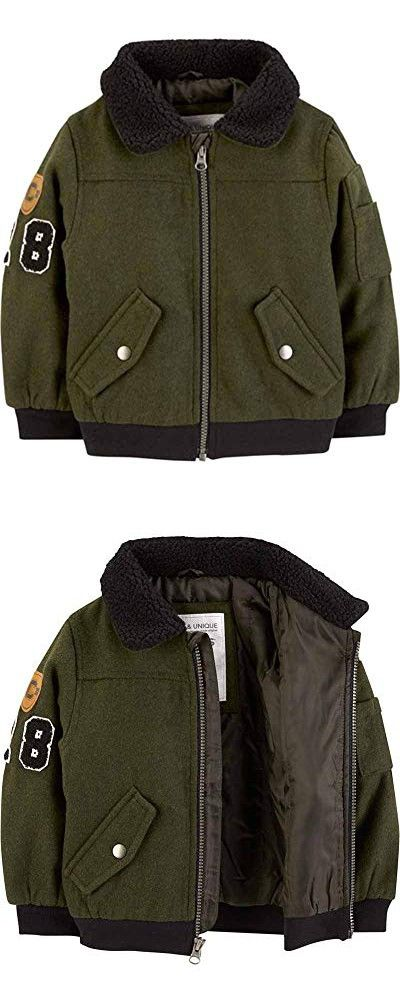 fd3f99a27187 Carter s Baby Boys  Infant Olive Faux Wool Bomber Jacket