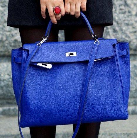 719949f7e3 I LOVE cobalt blue bags.
