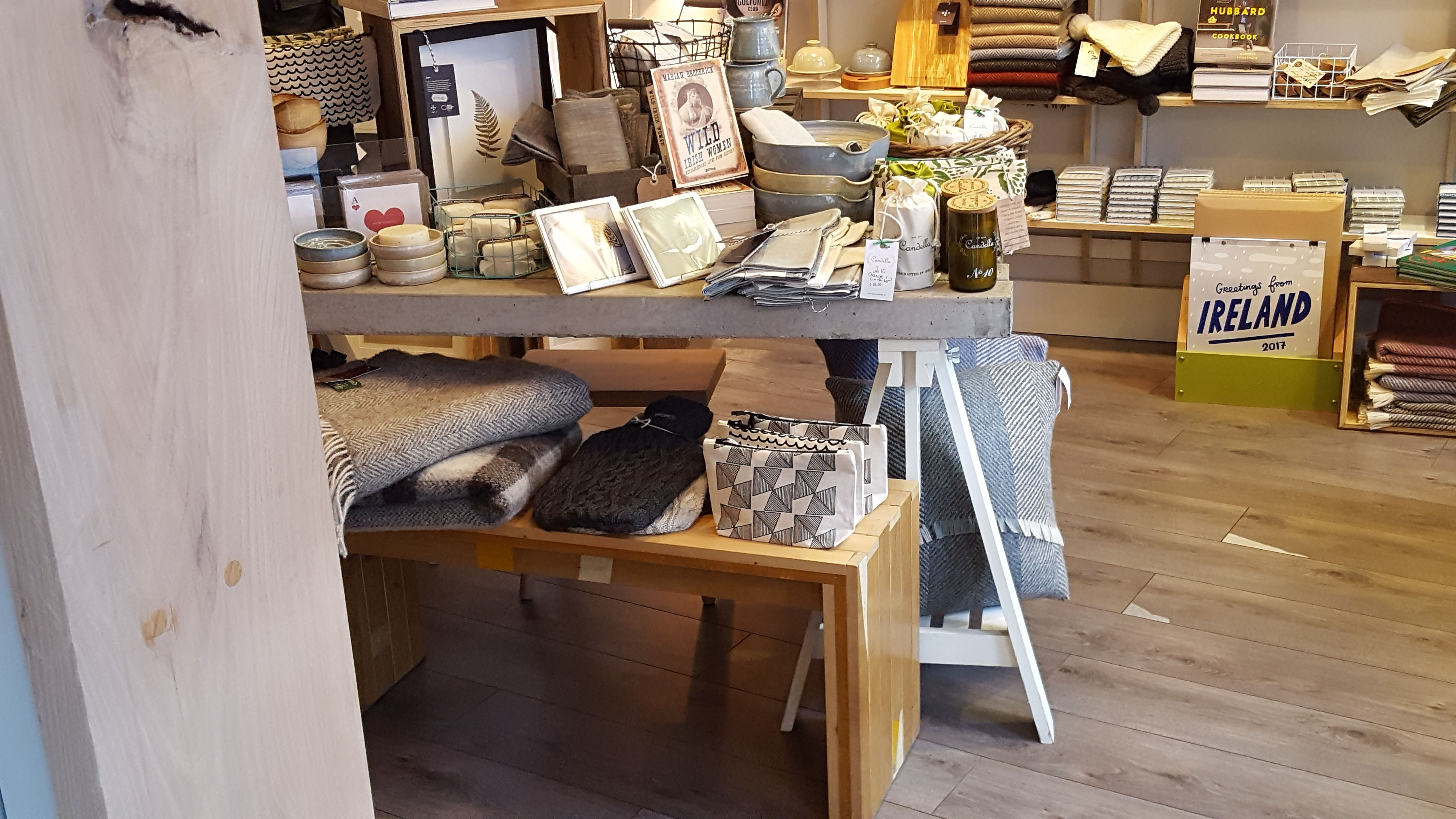 Table made from concrete lintels on IKEA trestle legs