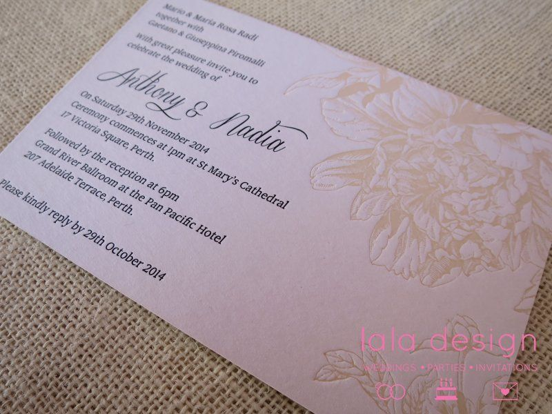 Pin by lala design perth on speciality finishes pinterest perth order your beautiful custom made wedding invitations from lala design today stopboris Choice Image