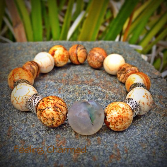 Picture Jasper Beaded Bracelet Gemstone Bracelet by FeelingCharmed, $20.00