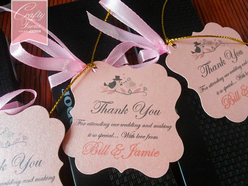 Love Birds Themed Wedding Favour Thank You Tag with Ribbon ...