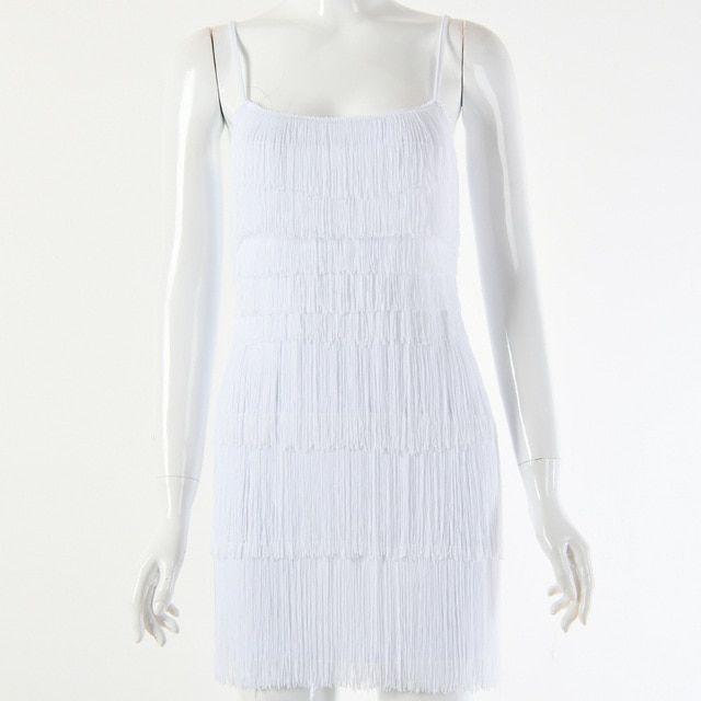 Tassel dress women summer flapper beach dress strap low cut black white short fringe party dresses clubwear #weißekleiderkurz