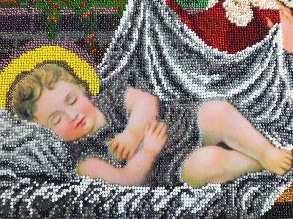 Wall tapestry/ Nativity scene/ Bead art/ Holy Family ...