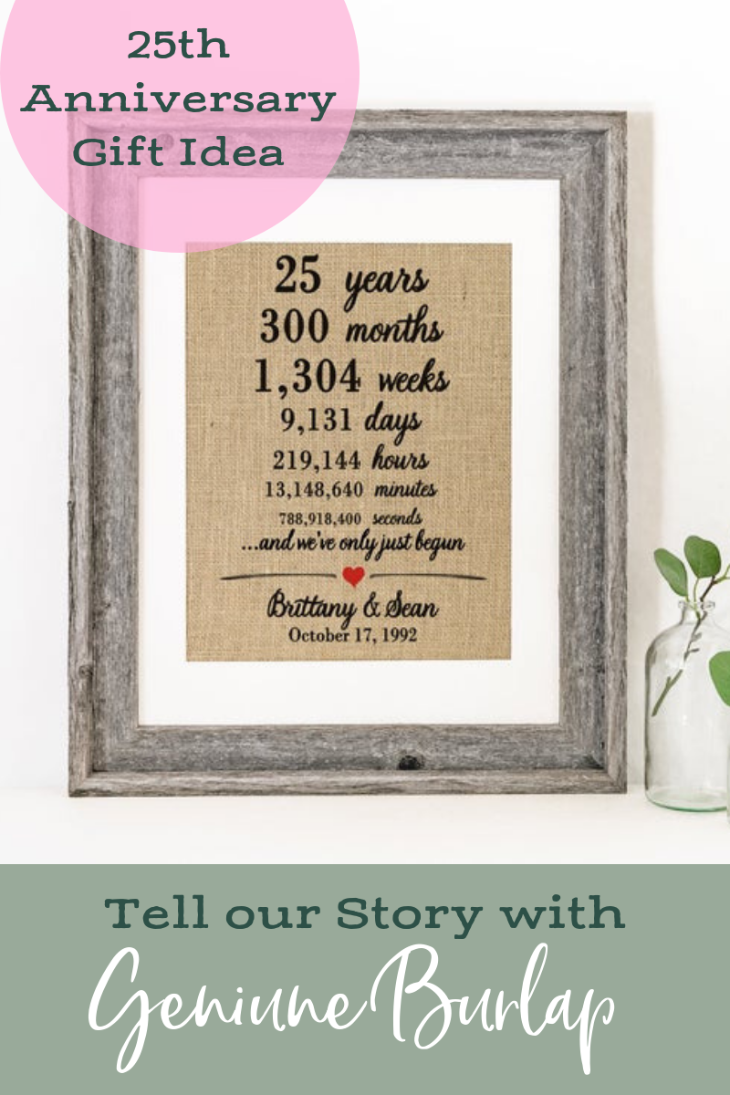 Personalized 25th Anniversary Gift for Parents Anniversary