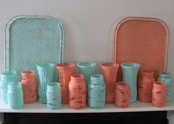 Coral and Aqua Wedding Collection  Painted by TheSpeckledEgg2011, $120.00