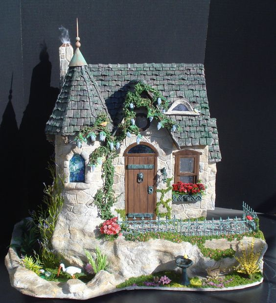 """1"""" Scale Stone Cottage with Tower and Pond by CDHM Artisan Tracy Topps of Minis on The Edge"""