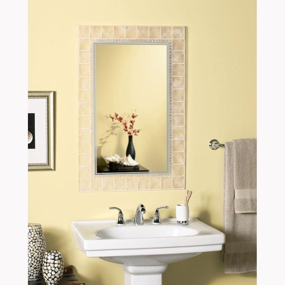 Deco Mirror 36 in. L x 24 in. W Large Glass Block Rectangle Wall ...