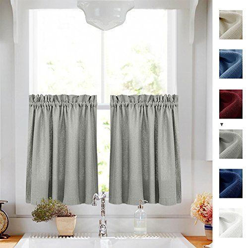 Kitchen Curtains 36 Inch Length Privacy Semi Sheer Half Window